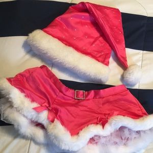 Like new! Victoria's Secret Pink Santa Hat & Skirt